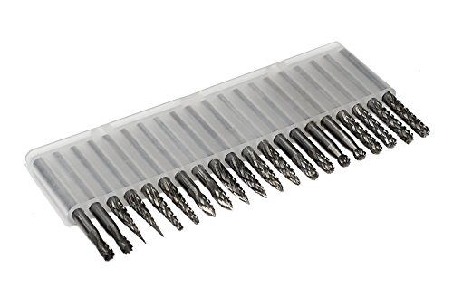 Tungsten Cutting Carbide (Double Cut Carbide Burr set 1/8 Shank Diameter Tungsten Carbide Burs Rotary File Carving Grinding Bit Set for Die Grinder Rotary Drill Dremel Tool 20pcs)