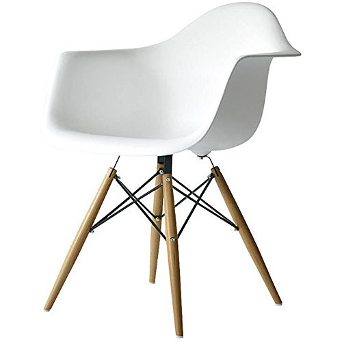 2xhome white eames style armchair natural wood legs eiffel dining