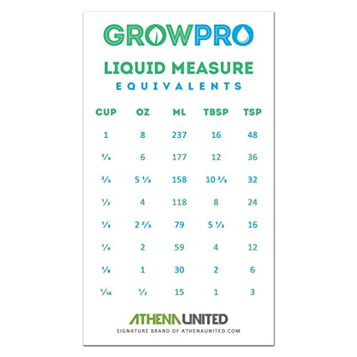 Grow Pro Liquid Measure Magnet Weight Volume Conversion Chart Measuring Cups (cup) Ounces (oz) Milliliters (ml) Table spoons (tbsp) Teaspoons (tsp)