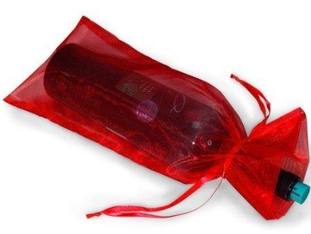 10 Red Bottle & Wine Organza Gift Wrap Bag