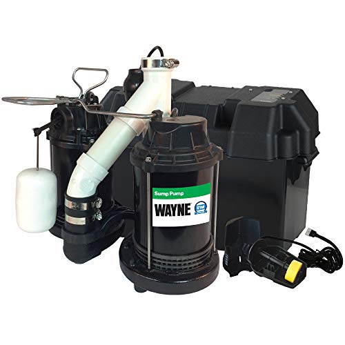 Pump Backup Sump Basement - Wayne WSS30V Upgraded Combination 1/2 HP and 12-Volt Battery Back Up System
