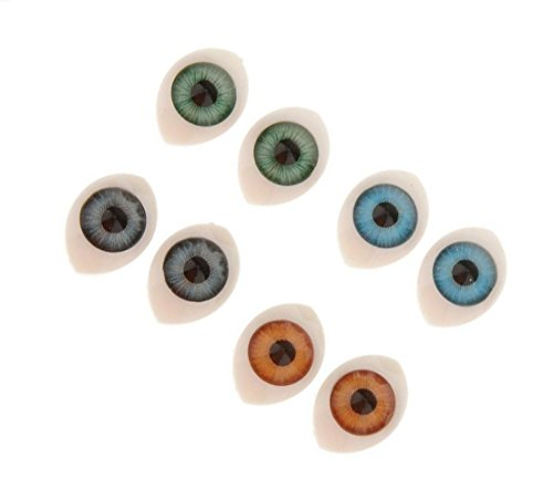 (8 Pairs 4 Assorted Colors Plastic Oval Hollow Doll Making Flat Back Eyes Eyeballs for DIY Crafting Supplies Puppet Teddy Bear Doll Animal Stuffed SD Toys(10mm x 14mm))