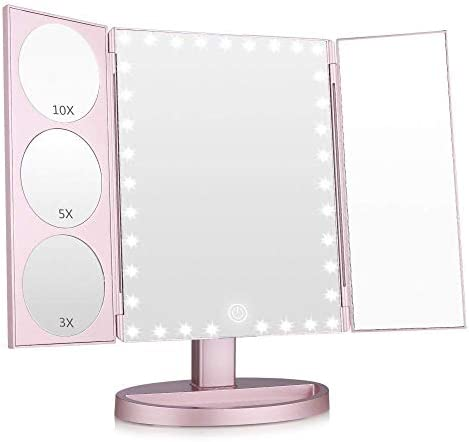 Easehold 35 LED Lighted Vanity Makeup Mirror Tri-Fold with 3X 5X 10X Magnifiers 360 Degree Free Rotation Countertop Bathroom Cosmetic Mirror Rose Gold