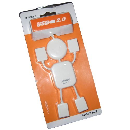 High Speed 4 Ports USB 2.0 Hub White Mini Man USB HUB