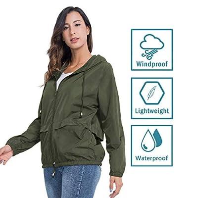 JTANIB Women's Lightweight Packable Waterproof Hooded Rain Jacket S-XXL: Clothing