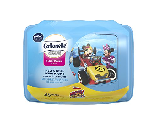 Cottonelle Flushable Wipes for Kids, Refillable Tub, 180 Count