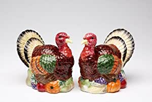 3.75 inch Handcrafted Set Of Turkey Salt And Pepper Shakers