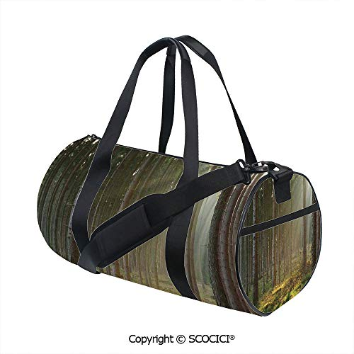 (Canvas cylinder sports bag,Sunbeams Comes into Natural Misty Spruce Forest from the Right Top Picture PrintInner Dark Grid,(17.6 x 9 x 9 in) Tan and Brown)