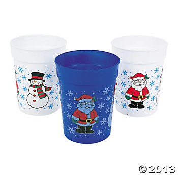 One Dozen Plastic Holiday Cups/CHRISTMAS Cups/Christmas Tableware and Party Supplies