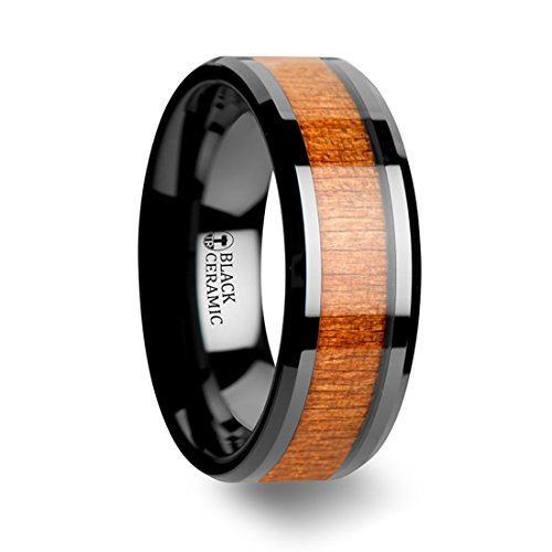 Thorsten Iowa Black Ceramic Beveled Edge Wedding Band and Genuine Rich Grain Black Cherry Wood Inlay 8mm Wide Wedding Band from Roy Rose Jewelry Size 12.5 ()