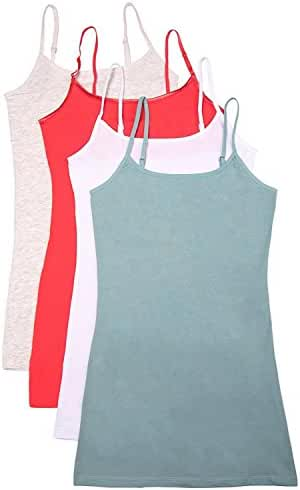 4 Pack: Active Basic Cami Tanks in Many Colors -Small -3XL