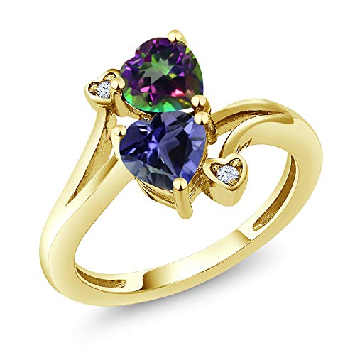 Gem Stone King 1.56 Ct Green Mystic Topaz Blue Iolite 18K Yellow Gold Plated Silver Ring (Size 5)