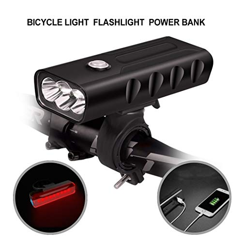 500 Lumen Bicycle Headlight and Tailight Set, USB Rechargeable Bike Light 3 Built in Battery with USB Charging Option, Cycling Taillight Waterproof Safety Flashlight road bike light with Quick Release