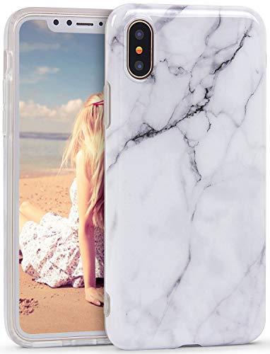 変な敷居スプリットImikoko iPhone X/XS ケース スマホケース おしゃれ かわいい TPU 衝撃 大理石 マーブル マット 5.8インチ (アイフォンX/XS, ホワイト)