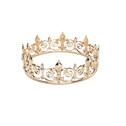 Royal Full King Crown Metal Men Crowns and Male Tiaras for Man Prom Party Hats Costume Accessories ()