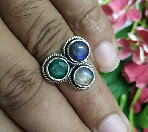 - Rainbow Moonstone & Labradorite & Emerald Ring Engagement Ring 925 Sterling Silver Vintage Design Handmade Jewelry Statement Ring Boho Jewelry Personalized Ring Promise Ring Gift For Her BFF Gift