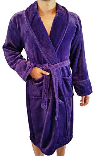 FASCIINO Men's Full Length Shawl Collar Velour Microfiber Fleece Bathrobe Spa Robe (Purple) (Mens Velour Robes)