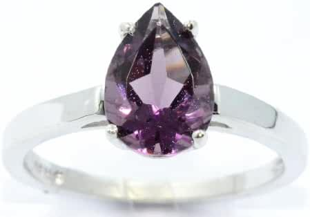 10x7mm Created Alexandrite Pear Ring .925 Sterling Silver Rhodium Finish
