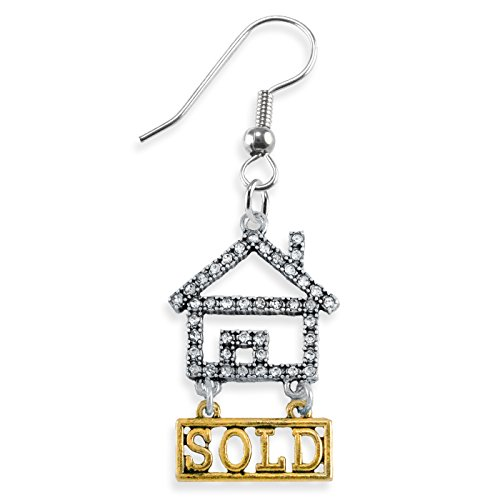Real Estate Sold Crystal Earring, Safe-Nickel, Lead & Cadmium Free!