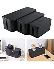 (Set of Three) Cable Management Organizer Box Power Strips Hider Power Cords Hider for Desk, TV, Computer, USB Hub, Cords (Black)