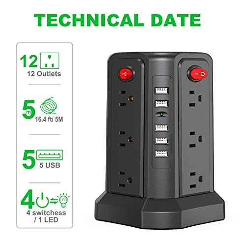 Surge Protector Power Strip 16.4FT/5M 5 USB Ports 12 Outlet Power Strip with USB Long Cord Outlet Surge Protector Tower Overload Protection, Short Circuit Protection
