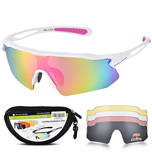 Snowledge Cycling Glasses for Men Women with 5 Interchangeable Lenses,TR90 Sport Sunglasses for Men for Cycling,UV400 Polarized Sunglasses,Sports Sunglasses for Men ()