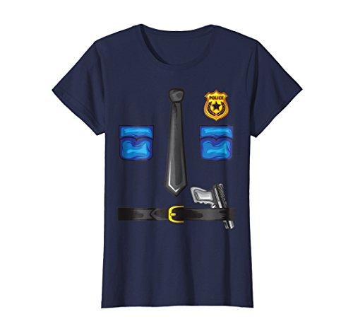 Womens Police Sheriff Uniform Costume TShirt | Funny Halloween Gift Small Navy -