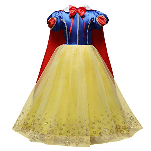 FYMNSI Princess Dress Up Snow White Halloween Costume Little Girls Birthday Christmas Party Maxi Gown with Cape 4-5T -