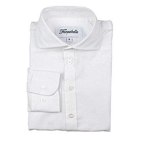 (Boys Long Sleeve Dress Shirt - Oxford Soft Cotton with Spread Collar (12, White))