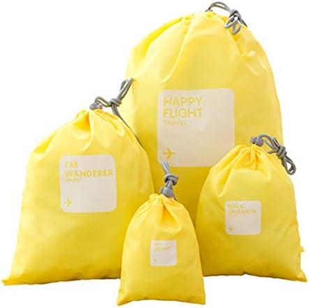 旅行用収納袋 4ピースのセット防水服収納袋旅行アクセサリー旅行主催者ポーチ服化粧品トイレタリーケーブル収納袋 ハンドロールアップ再利用可能な服 (色 : Yellow, Size : Free size)