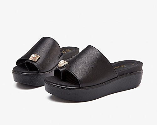Bottomed Slippers Slippers Flat with Black Summer qnavpzOz