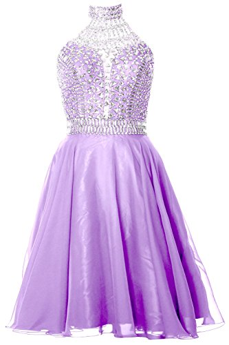 MACloth Gorgeous Halter Prom Homecoming Dress High Neck Cocktail Formal Gown  Lavanda