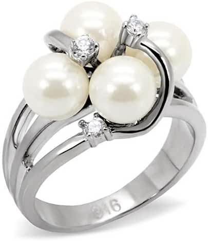 Stainless Steel White Pearl Cocktail Ring with CZ
