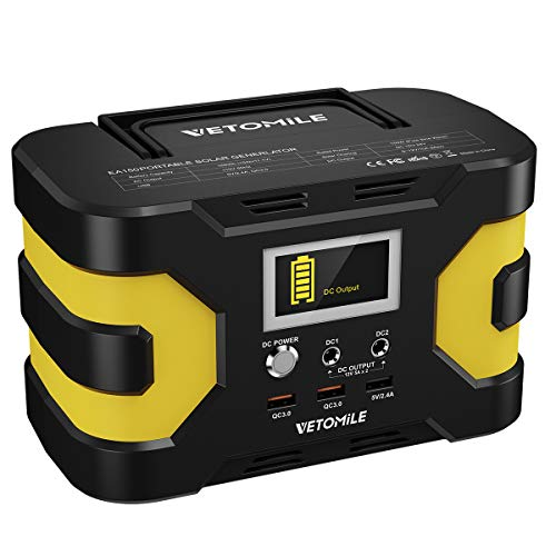 - VETOMILE 166Wh Portable Power Station Camping Generator with Pure Sine Wave 110V AC Outlet, 3 USB Ports(2 QC3.0), 2 DC Ports 45000mAh Lithium Battery Power Supply Pack for CPAP Outdoor Camping Backup