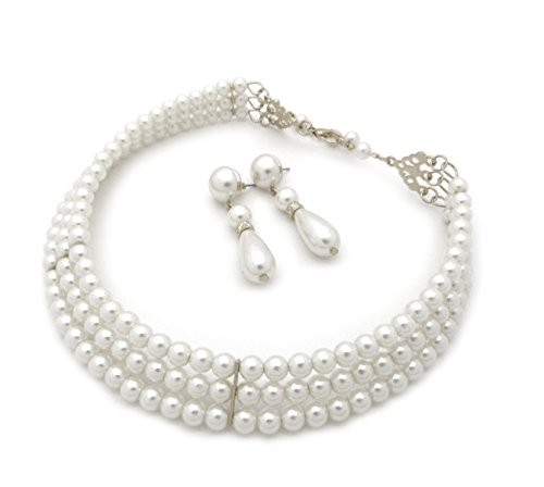 Fashion 21 3 Rows Elegant Simulated Pearl Choker Necklace, Pierced Earring 2 Set (White)