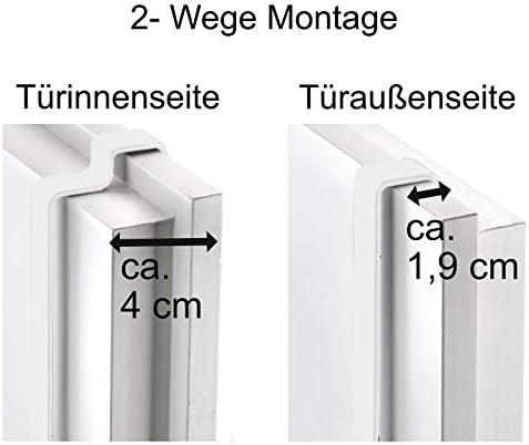 universell passend f/ür alle g/ängigen T/üren H/ängeregal Handtuchhalter mit 4 Haken // 3 Stangen h/ängend Metall T/ür-Aufbewahrung grau ohne Bohren