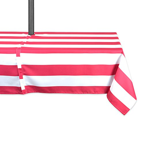 DII Coral Cabana Stripe Outdoor Tablecloth With Zipper, 60x120 w