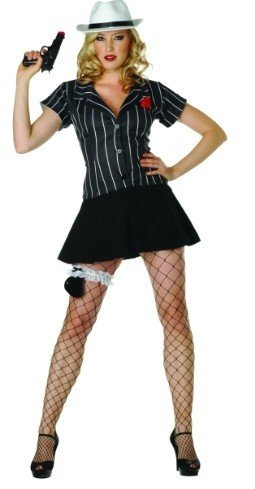 Female Mobsters Costumes (Hoodlum Honey w/ Hat - Size 16-18 Costume)
