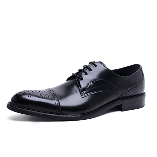Santimon Mens Brogue Cap Toe Oxford Scarpe Nere