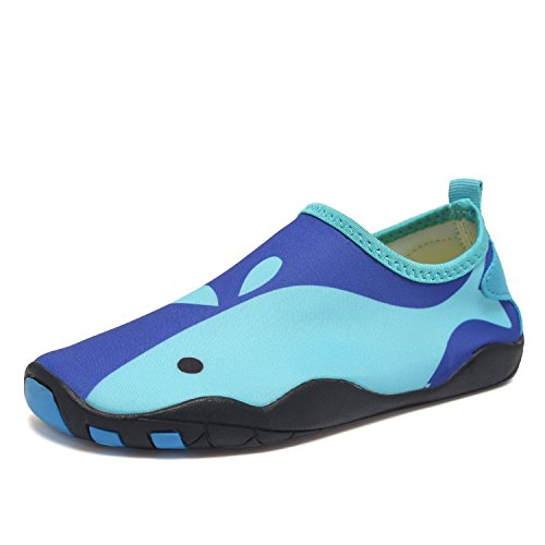 CIOR Kids Water Shoes Quick-Dry Boys and Girls Slip-On Aqua Beach Sneakers (Toddler/Little Kid/Big Kid),W18,W.Blue,25 0