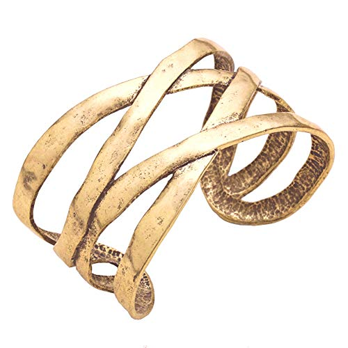 Beaten Distressed Vintage Look Gold-Tone Criss Cross Open Work Cuff Bangle Bracelet 1.5 Inches Wide ()
