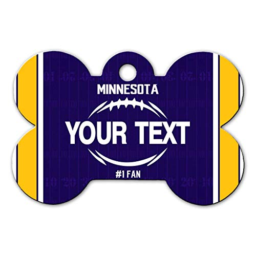 BRGiftShop Personalize Your Own Football Team Minnesota Bone Shaped Metal Pet ID Tag with Contact Information ()