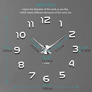 Vangold Mute DIY Reloj de Pared sin Marco Espejo Grande 3D Sticker-2 años de garantía (Plata) 3