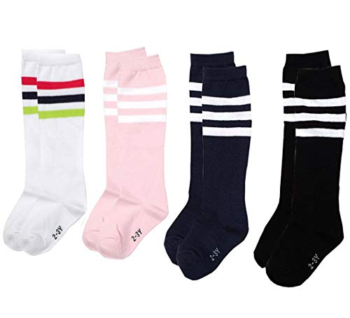 BESTCYC Pack of 4 Pairs Different Color Children Boys Girls Toddlers Cotton Knee Long Socks High Tube Soccer Socks Team Socks for Kids -