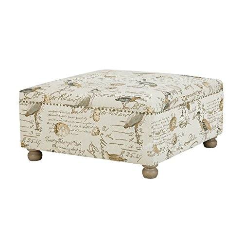 Carlyle Cocktail Square Ottoman Ivory See Below