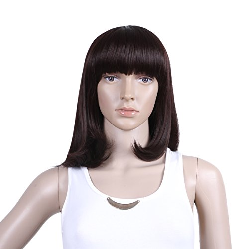 Damara Womens Stylish Mix Short Straight Flat Bang Party Full Wig,Dark Brown