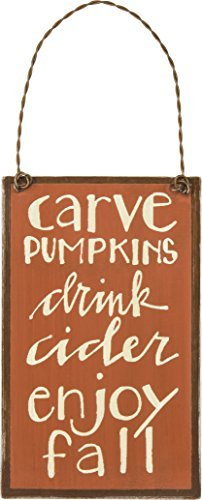 Primitives by Kathy PBK Fall Decor - Small Tin Ornament Sign Carve Pumpkins Cider Enjoy Fall #27603