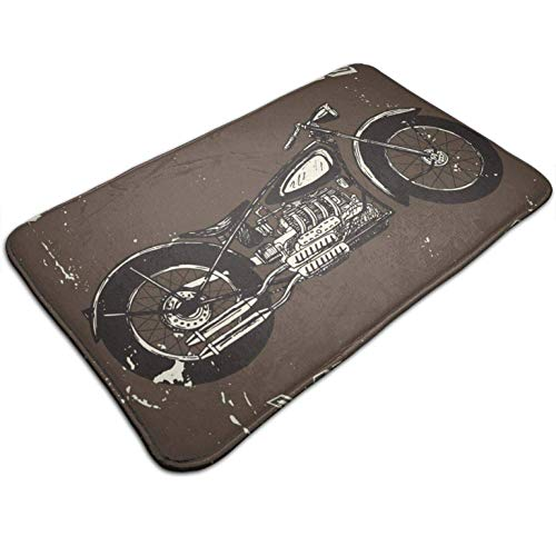 Vintage Motorcycle Art,Entrance Rug Floor Mats Non Slip Heavy Duty Door Mat Carpet for Indoor Outdoor High Traffic Areas 19.5