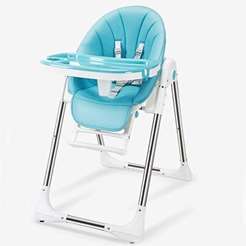 MEI1JIA 子供のためのポータブルベビーシートベビーディナーテーブル多機能調節可能な折りたたみチェア(ピンク) (Color : Blue)