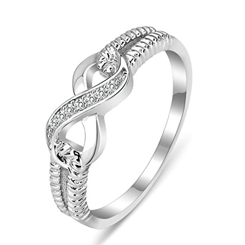 Daesar Silver Plated Wedding Bands Womens Infinity Rings Cz Eternity Ring Bridal Size 10